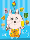 Yummy Cat Lets Party. Illustration of yummy cute with sweet dessert, lets celebrate your party. --- This .eps file info Version: Illustrator 8 EPS Document: 9 * royalty free illustration
