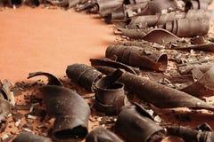 Yummy chocoladekrullen voor decor op kleurenachtergrond royalty-vrije stock foto's