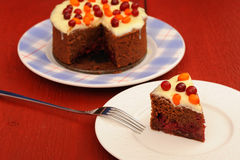 Yummy chocolate cake with fresh cranberries, sea-buckthorn and i. Cing on red wooden background closeup Royalty Free Stock Image