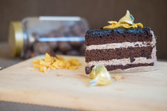 Yummy chocolate cake served on table. Close-up Stock Photography