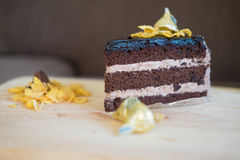 Yummy chocolate cake served on table. Close-up Stock Images