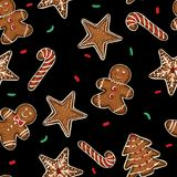 Yummy Christmas cookies seamless background Stock Photography
