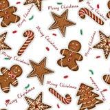 Yummy Christmas cookies seamless background Stock Photos