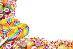 Yummy colorful candies and lollipops Royalty Free Stock Photos