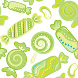 Yummy colorful sweet lollipop candy cane seamless pattern Stock Images