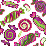 Yummy colorful sweet lollipop candy cane seamless pattern. Yummy colorful violet green sweet lollipop candy cane seamless pattern Stock Image