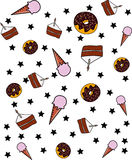 Yummy colorful sweet lollipop candy cupcake donut ice cream pattern Royalty Free Stock Photos