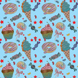 Yummy colorful sweet lollipop candy cupcake donut ice cream pattern Royalty Free Stock Images