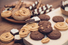 Yummy cookie and dessert brown chocolate Royalty Free Stock Image