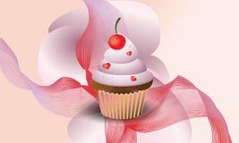 Yummy cupcake als achtergrond met kers Vector illustratie vector illustratie