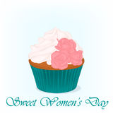 Yummy cupcake for International Women`s day with roses flowers. Holiday background, poster or placard template in. Simple cartoon style. Vector illustration Stock Image