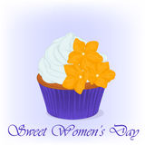 Yummy cupcake for International Women`s day with sugarpaste flowers. Holiday background, poster or placard template in Royalty Free Stock Photo