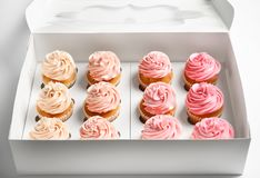 Yummy cupcakes in box. On white background Stock Photos