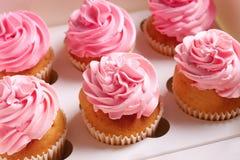 Yummy cupcakes in doos royalty-vrije stock foto