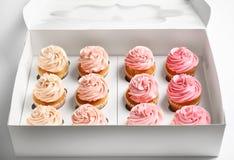 Yummy cupcakes in doos stock foto's
