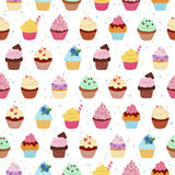 Yummy cupcakes seamless pattern Stock Photos