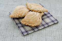 Yummy curry puff. On chess pattern cloth Royalty Free Stock Photography