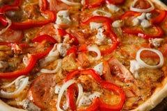 Yummy delicious colorful italian pizza closeup Royalty Free Stock Photo