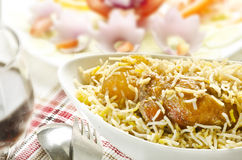 Yummy delicious mouthwatering  Biryani with salad Royalty Free Stock Photo
