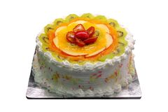 Yummy delicious party cake with sliced fruit piece Royalty Free Stock Photo