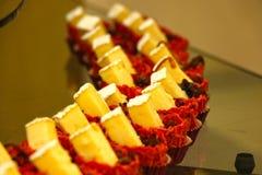 Yummy Dessert, eierdopjecake in restaurant, Doubai op 28 Juni 2017 royalty-vrije stock fotografie