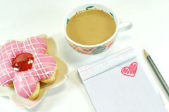 Free Yummy Donut, Lovely Notepad And Coffee Royalty Free Stock Images - 48639299