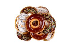 Yummy Donuts на белизне Стоковая Фотография