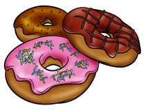 Yummy donuts. Illustration of three donuts with their toppings Royalty Free Stock Photos