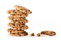Yummy freshly baked chocolate chip cookies Royalty Free Stock Photo