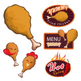 Yummy Fried chicken logo. menu yummy banner. Chicken Drumstick. hot spicy banner vector set design Royalty Free Stock Images