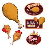 Yummy Fried chicken logo. menu yummy banner. Chicken Drumstick. hot spicy banner vector set design Royalty Free Stock Images
