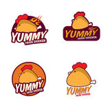 Yummy Fried chicken logo vector set design Stock Images