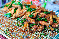 Yummy Fried Chicken Wings. Delicious Fried Chicken Wings With Herbal Smell Stock Photography