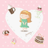 Yummy - Girl dreaming of sweet stuff bakery. Cute cartoon illustration / EPS 10 Royalty Free Stock Photo