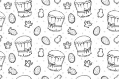 Easter cakes, eggs and angels seamless pattern vector illustration