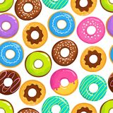 Yummy glazed cakes chocolate donuts vector seamless pattern. Donut yummy pattern, sweet dessert illustration Stock Photography