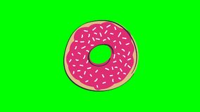 Animation of rotating donut with pink strawberry topping, animated hand drawn cartoon illustration, loop able, on chroma key green stock video