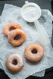 Yummy and homemade homemade donuts ready to eat. Closeup of yummy and homemade homemade donuts ready to eat Royalty Free Stock Images