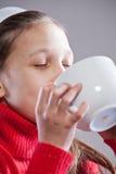 Yummy I love my mug of milk Stock Images