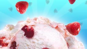Yummy ice cream with slow falling strawberries stock footage