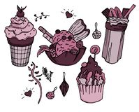 Yummy ice creams and cocktail for winter warm evening by the fire stock illustration