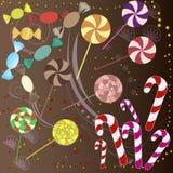 Yummy kleurrijk zoet suikergoed en kleine punten Stock Afbeeldingen