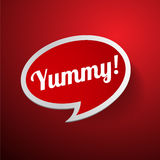 Yummy label or speech bubble Stock Photo