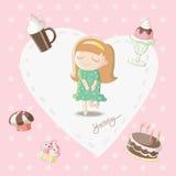 Yummy - Meisje die van zoete materiaalbakkerij dromen stock illustratie