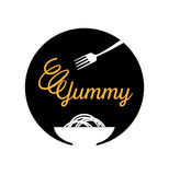 Yummy noodle logo with fork. Yummy noodle logo design with fork and bowl Stock Image