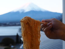Yummy noodle with Mt.Fuji san view royalty free stock images
