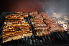 Yummy pieces of meat cooked on fire Royalty Free Stock Photo