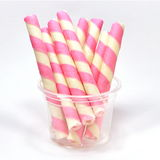 Yummy Pink Wafer Rolls Stock Photography
