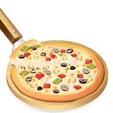 Yummy Pizza. Illustration of yummy cheesy pizza on pan against white background Royalty Free Stock Photos