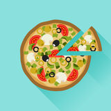 Yummy pizza in flat design style Stock Images